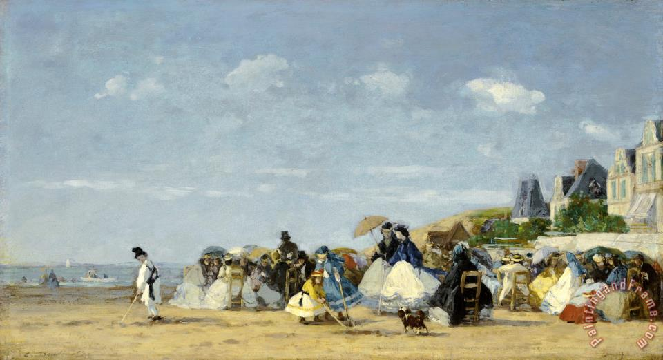 Beach at Trouville painting - Eugene Boudin Beach at Trouville Art Print