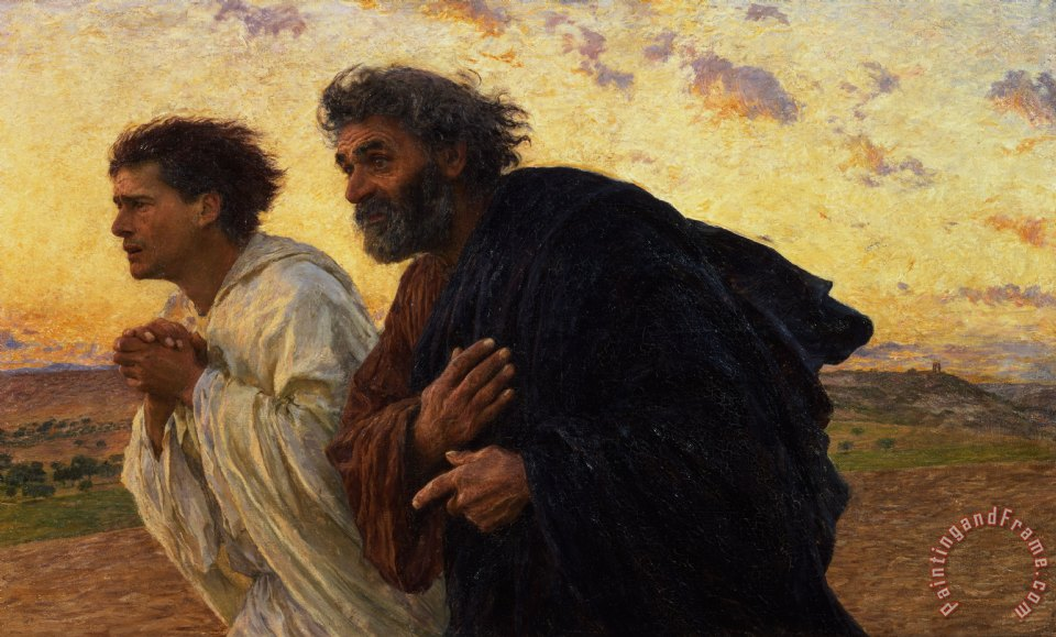 The Disciples Peter and John Running to the Sepulchre on the Morning of the Resurrection painting - Eugene Burnand The Disciples Peter and John Running to the Sepulchre on the Morning of the Resurrection Art Print