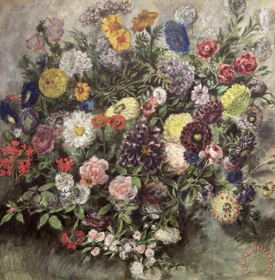 Bouquet of Flowers (w/c, Gouache & Pastel on Paper) painting - Eugene Delacroix Bouquet of Flowers (w/c, Gouache & Pastel on Paper) Art Print