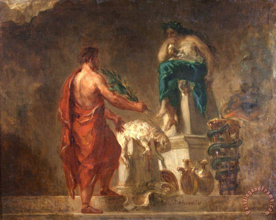 Eugene Delacroix Lycurgus Consulting The Pythia Painting