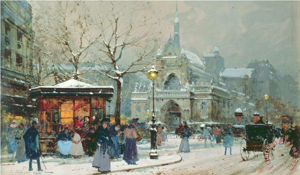 Eugene Galien Laloue Snow Scene In Paris Painting Snow