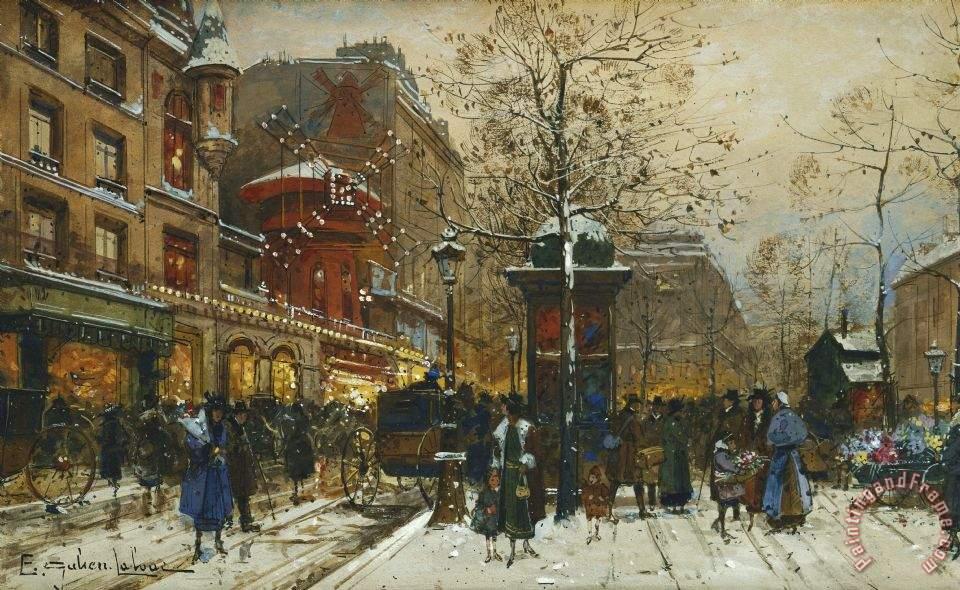 Eugene Galien Laloue The Moulin Rouge Paris Painting The