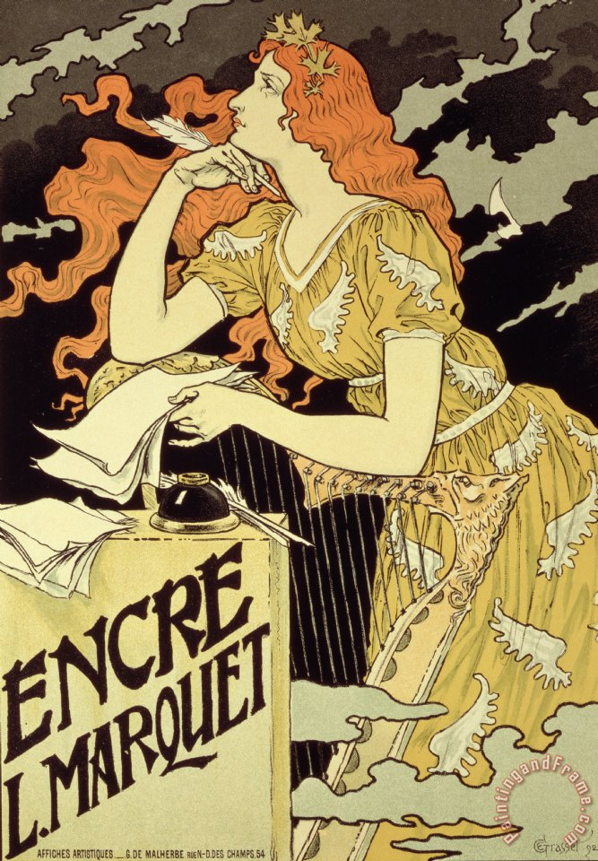 Reproduction Of A Poster Advertising 'marquet Ink' painting - Eugene Grasset Reproduction Of A Poster Advertising 'marquet Ink' Art Print