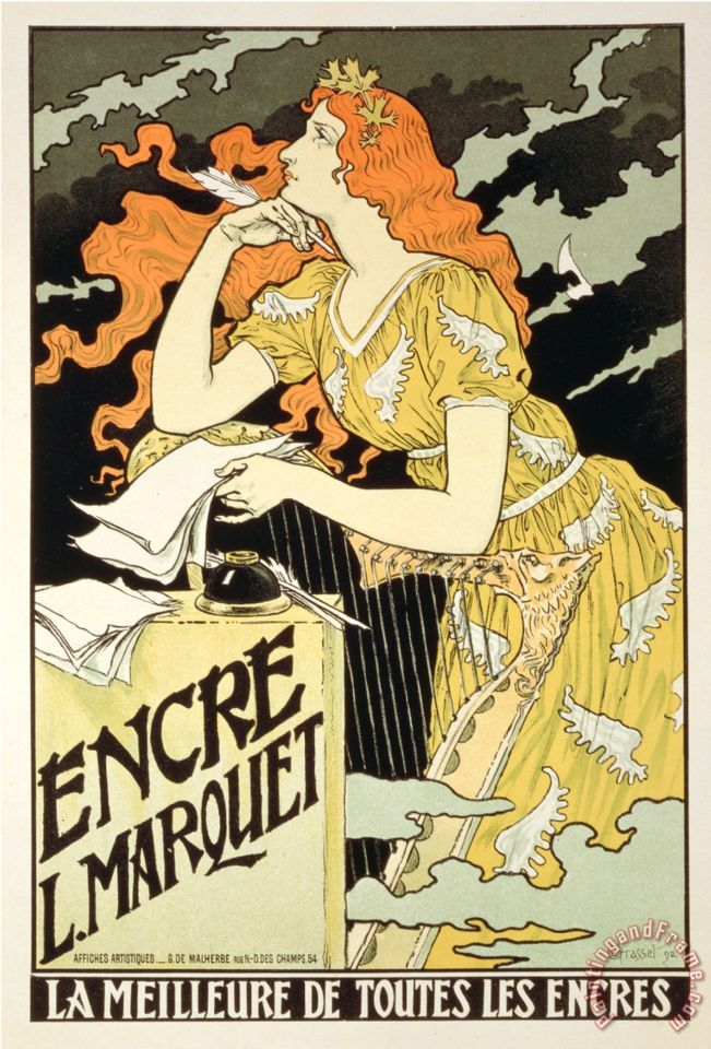 Reproduction of a Poster Advertising Marquet Ink 1892 painting - Eugene Grasset Reproduction of a Poster Advertising Marquet Ink 1892 Art Print