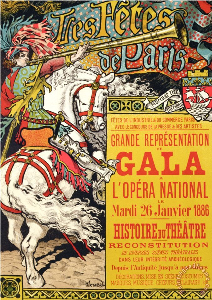 Eugene Grasset Reproduction of a Poster Advertising The Fetes De Paris at The Opera National Paris 1885 Art Painting