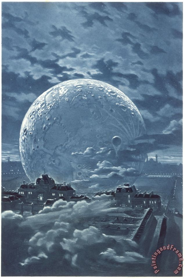 Eugene Grasset Surreal Image Of The Moon Over Le Champ De Mars In Paris Painting Surreal Image