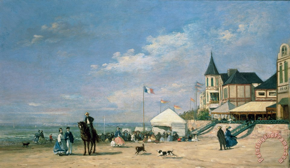 The Beach at Trouville painting - Eugene Louis Boudin The Beach at Trouville Art Print
