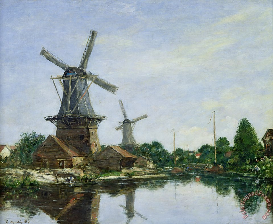 Dutch Windmills painting - Eugene Louis Boudin Dutch Windmills Art Print