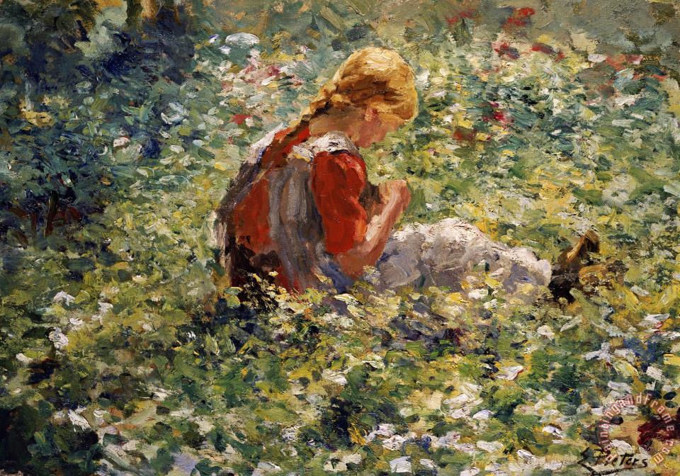 A Young Girl In A Flower Garden Painting   Evert Pieters A Young Girl In A