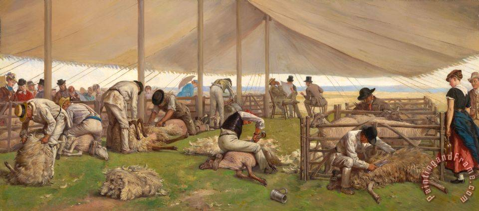 A Sheep Shearing Match painting - Eyre Crowe A Sheep Shearing Match Art Print