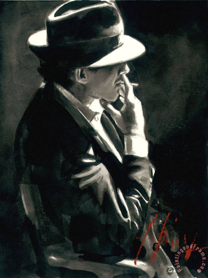 fabian perez smoking under the light painting smoking under the