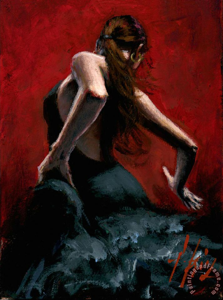 Fabian Perez Dancer in Black Dress Art Print