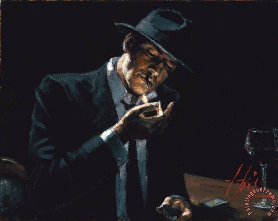 Fabian Perez Man Lighting a Cigarette painting - Man Lighting a Cigarette print for sale