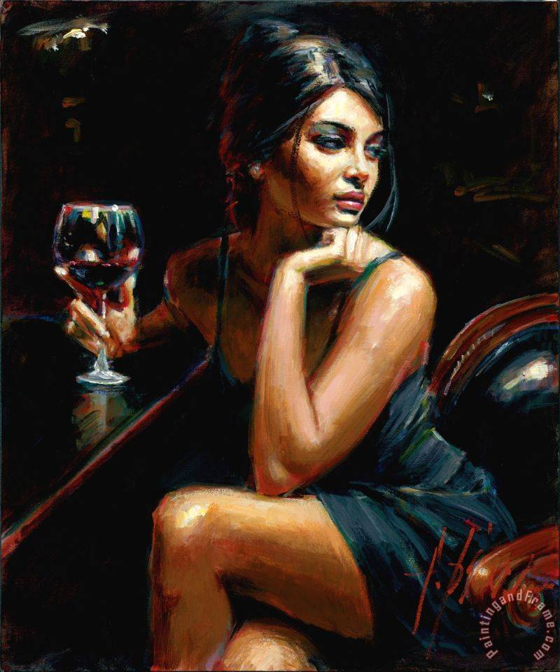 Saba at Las Brujas IV with Red Wine painting - Fabian Perez Saba at Las Brujas IV with Red Wine Art Print