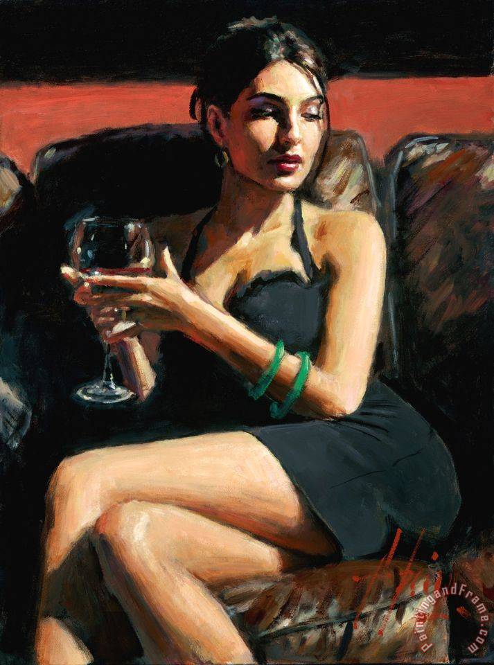 Fabian Perez Tess On Leather Couch Art Print For Sale