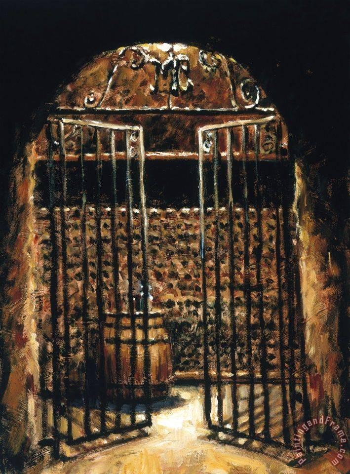 Fabian Perez Wine Cellar Painting Wine Cellar Print For Sale