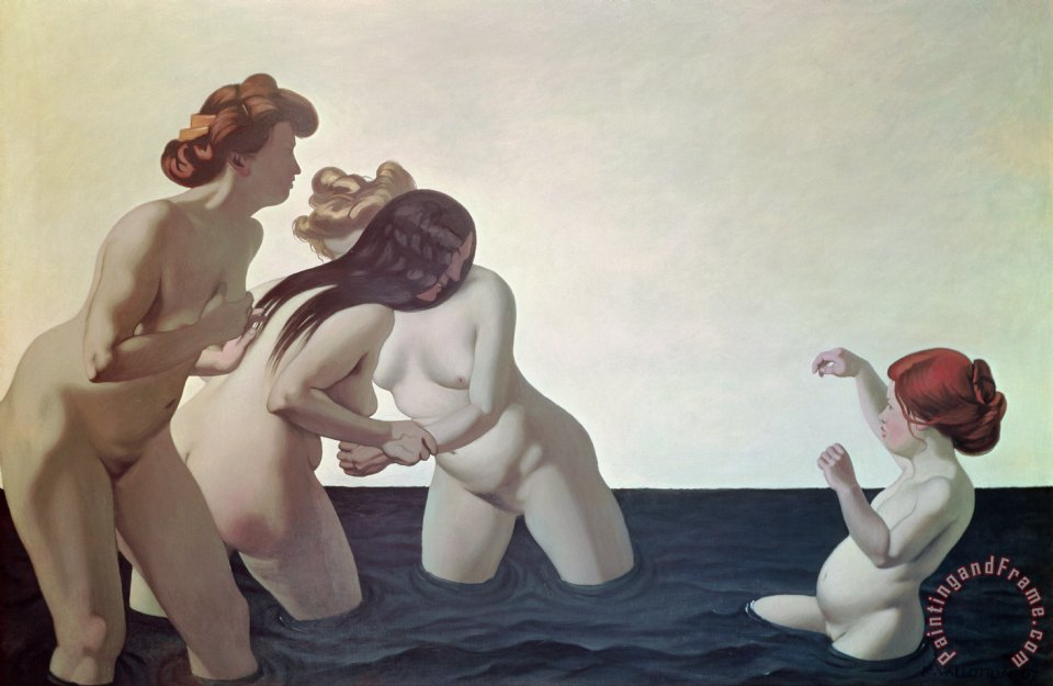 Three Women and a Young Girl Playing in the Water painting - Felix Edouard Vallotton Three Women and a Young Girl Playing in the Water Art Print
