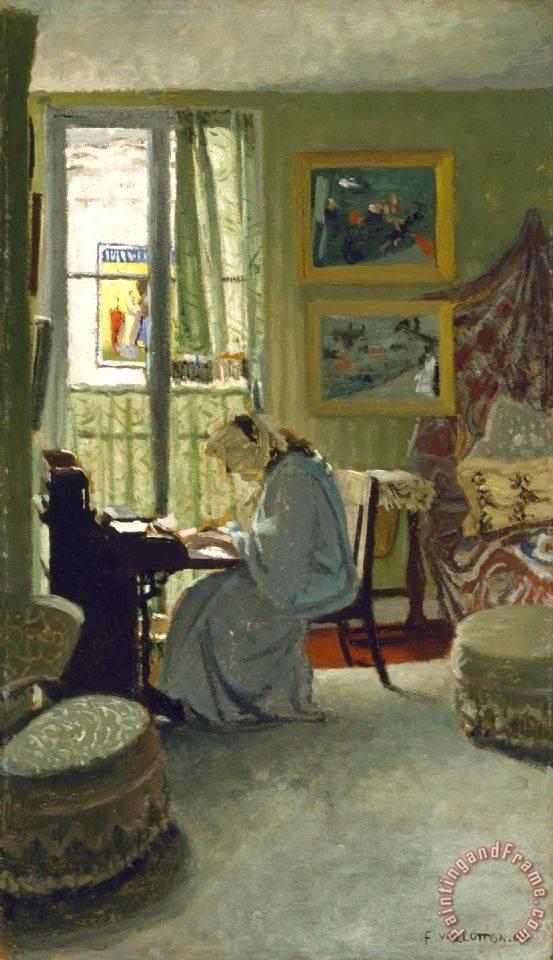 Felix emile jean vallotton woman writing in an interior for Vallotton architecte