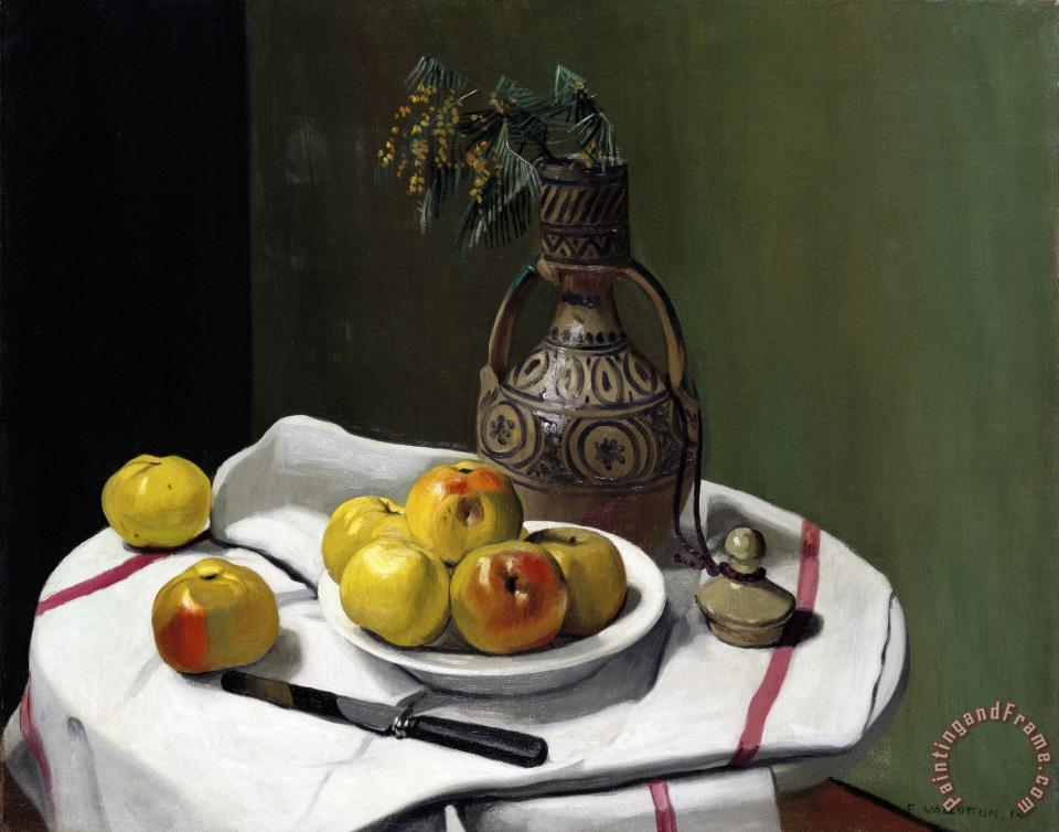 Felix vallotton apples and a moroccan vase painting for Vallotton architecte