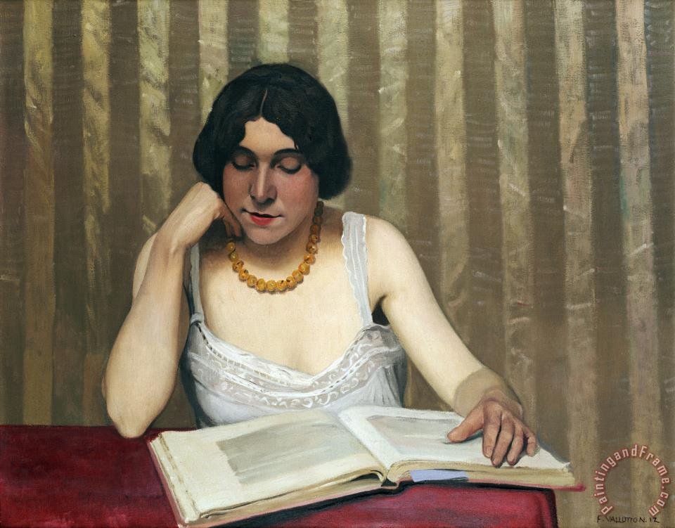 Felix vallotton reader with a yellow necklace painting for Vallotton architecte