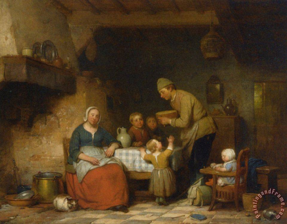 a peasant family gathered around the kitchen table painting   ferdinand de braekeleer a peasant family ferdinand de braekeleer a peasant family gathered around the      rh   paintingandframe com