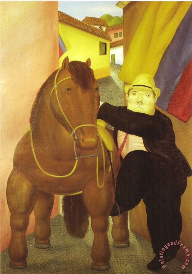 fernando botero Man And Horse Art Painting