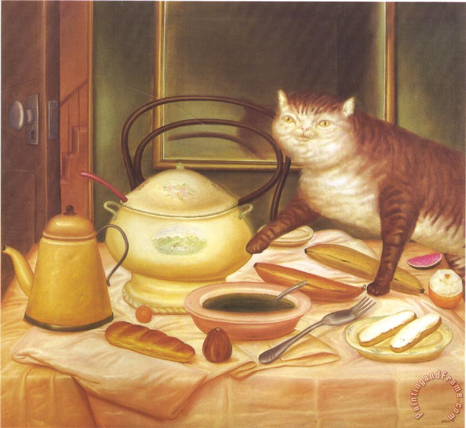 Still Life with Green Soup painting - fernando botero Still Life with Green Soup Art Print