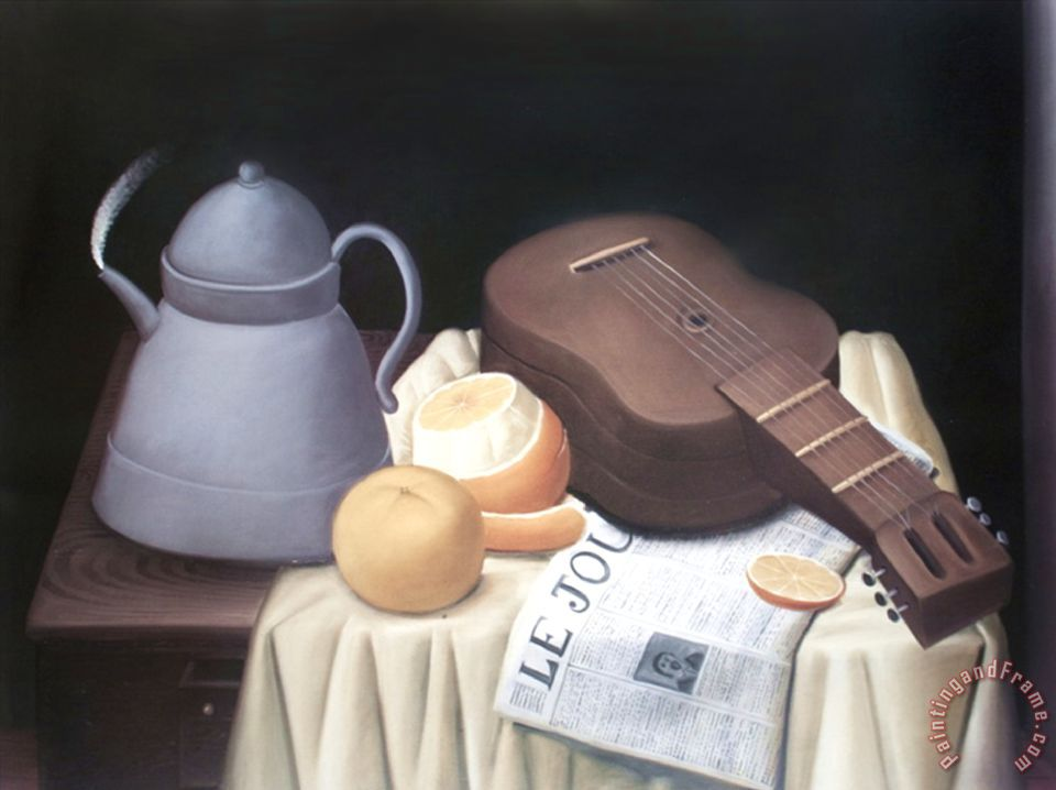 Still Life with Newspaper painting - fernando botero Still Life with Newspaper Art Print