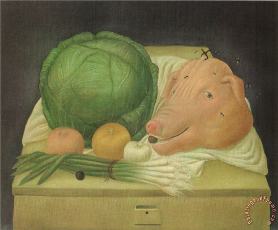Still Life with The Head of Pork painting - fernando botero Still Life with The Head of Pork Art Print