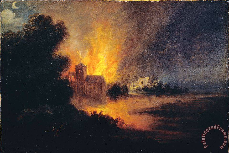 Flemish Or Dutch A Village On Fire Painting A Village On