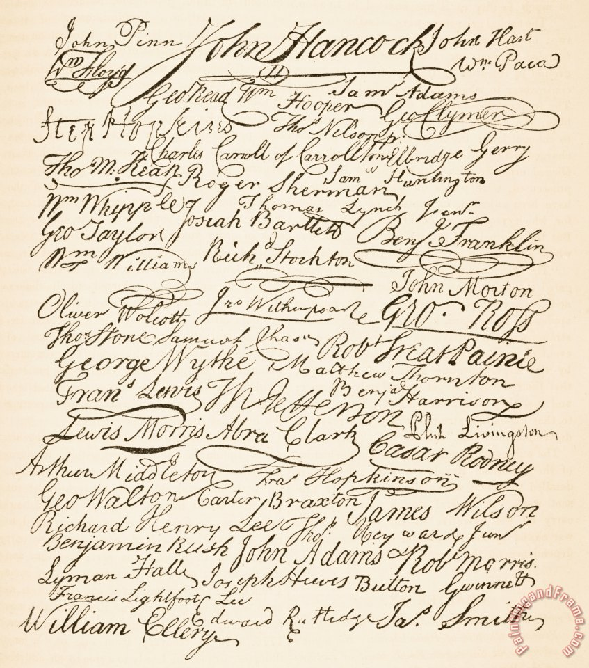 founding fathers signatures attached to the american easy to read declaration independence printable copy declaration independence