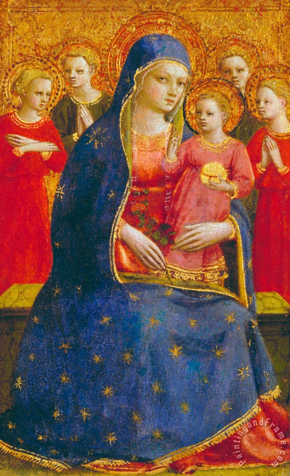 Fra Angelico Madonna And Child With Angels Art Print