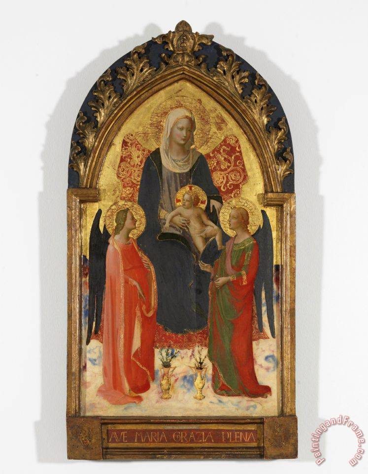 Madonna And Child with Two Angels painting - Fra Angelico Madonna And Child with Two Angels Art Print