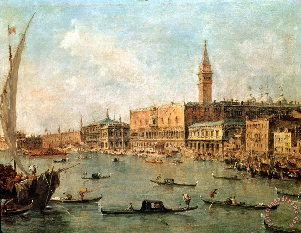 The Palace and the Molo from the Basin of San Marco painting - Francesco Guardi The Palace and the Molo from the Basin of San Marco Art Print
