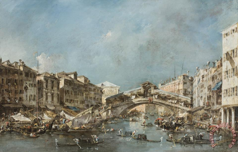 The Rialto Bridge painting - Francesco Guardi The Rialto Bridge Art Print
