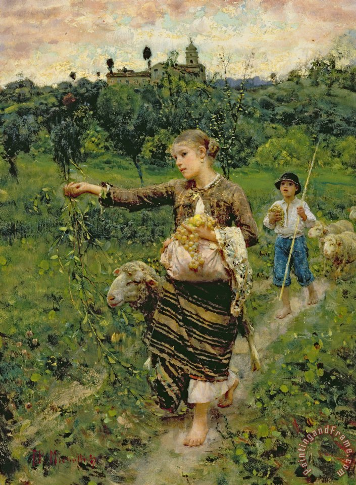 Shepherdess carrying a bunch of grapes painting - Francesco Paolo Michetti Shepherdess carrying a bunch of grapes Art Print
