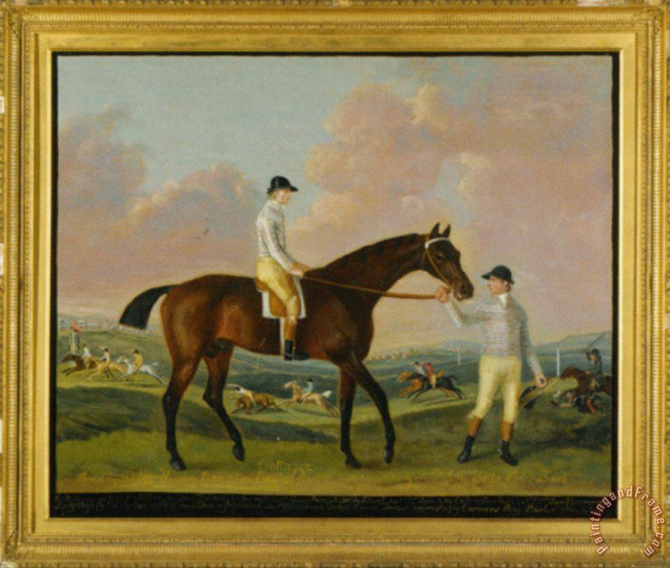 Portrait of Henry Comptons Race Horse Cottager Held by a Groom with Jockey And a Race Beyond painting - Francis Sartorius Portrait of Henry Comptons Race Horse Cottager Held by a Groom with Jockey And a Race Beyond Art Print