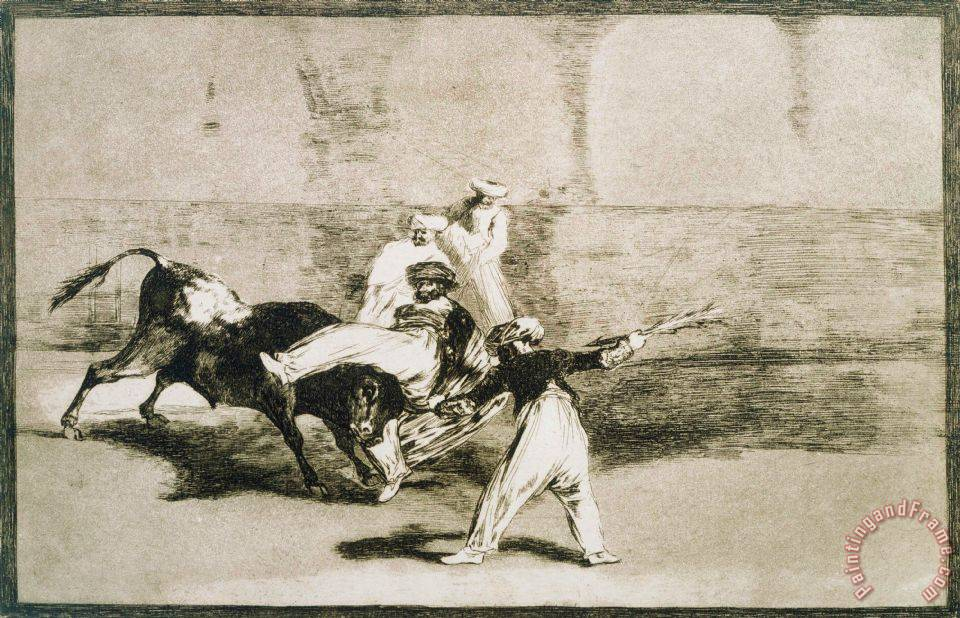 A Moor Caught by The Bull... From La Tauromaquia painting - Francisco De Goya A Moor Caught by The Bull... From La Tauromaquia Art Print