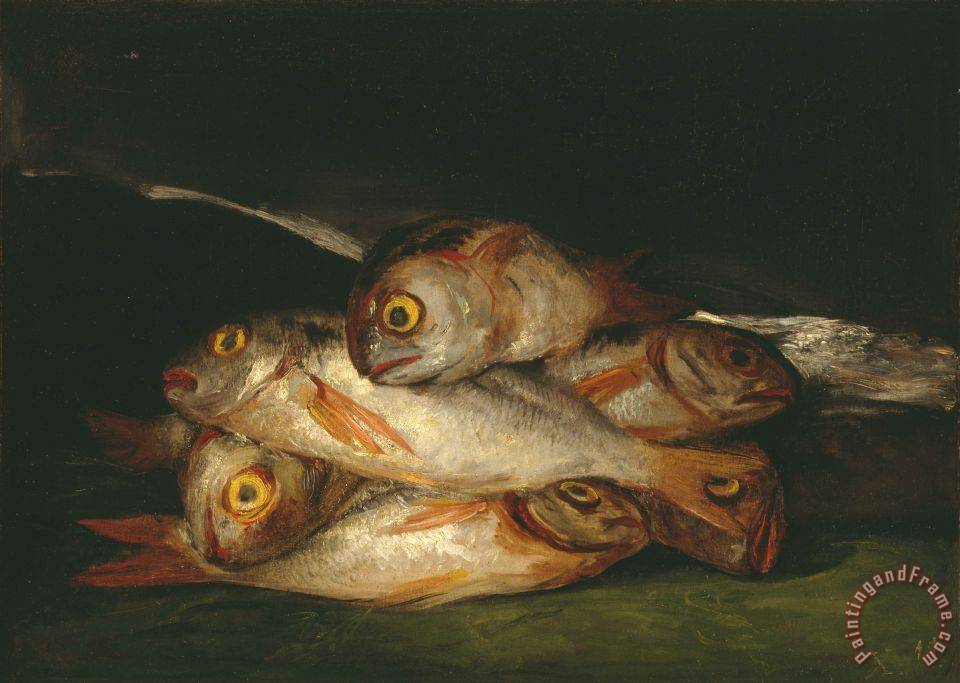 Still Life with Golden Bream painting - Francisco De Goya Still Life with Golden Bream Art Print