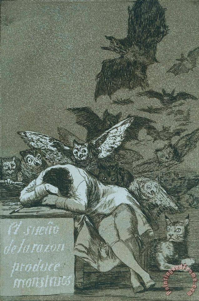 The Sleep of Reason Brings Forth Monsters painting - Francisco De Goya The Sleep of Reason Brings Forth Monsters Art Print