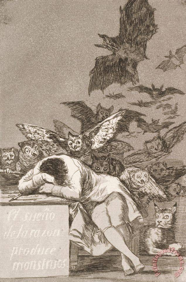 The Sleep of Reason Produces Monsters (no. 43), From Los Caprichos painting - Francisco De Goya The Sleep of Reason Produces Monsters (no. 43), From Los Caprichos Art Print