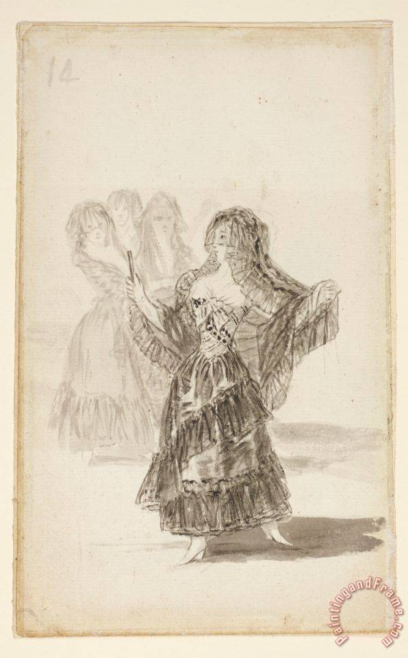 Two Majas Embracing (recto); Maja Parading Before Three Others (verso) painting - Francisco De Goya Two Majas Embracing (recto); Maja Parading Before Three Others (verso) Art Print
