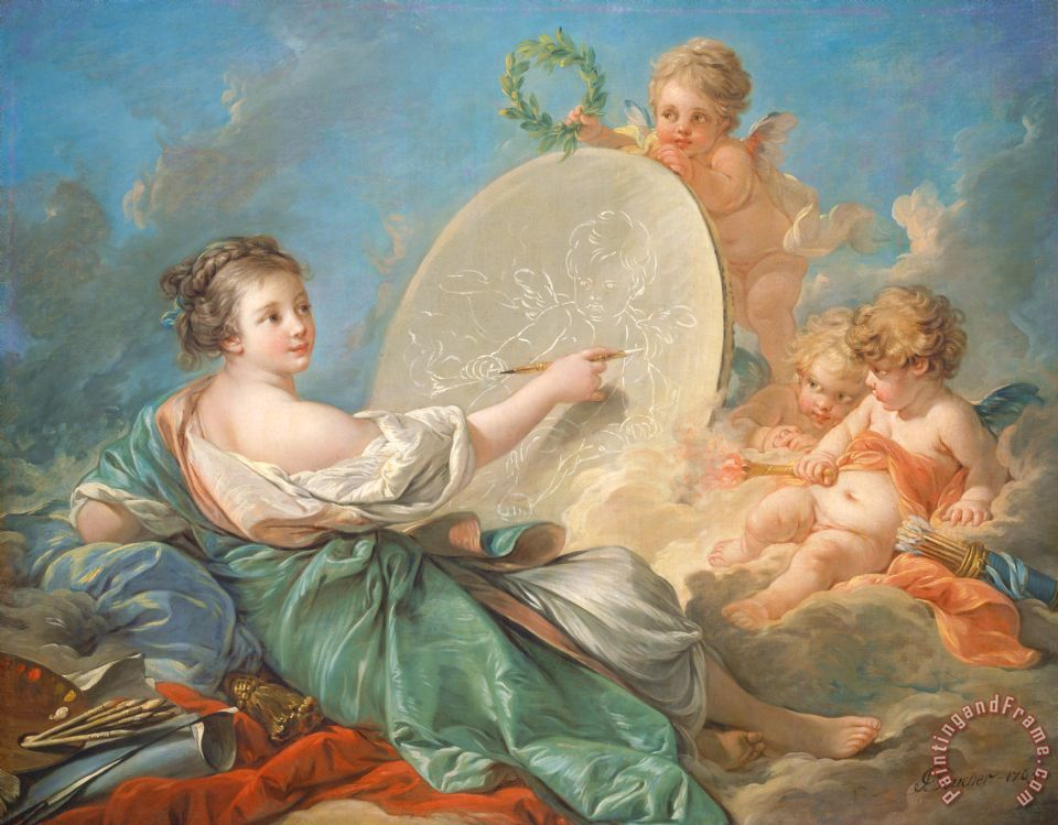 Allegory Of Painting painting - Francois Boucher Allegory Of Painting Art Print