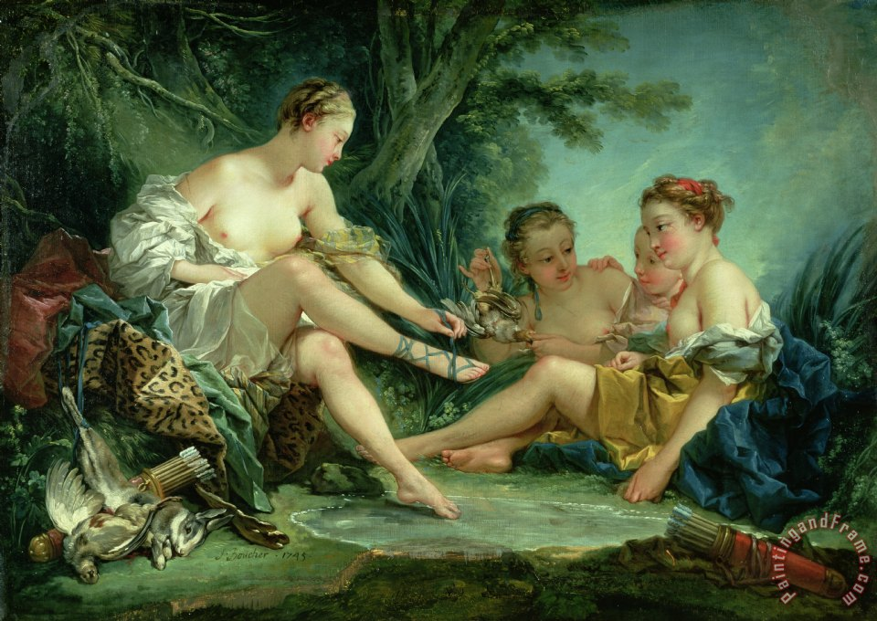 Diana after the Hunt painting - Francois Boucher Diana after the Hunt Art Print