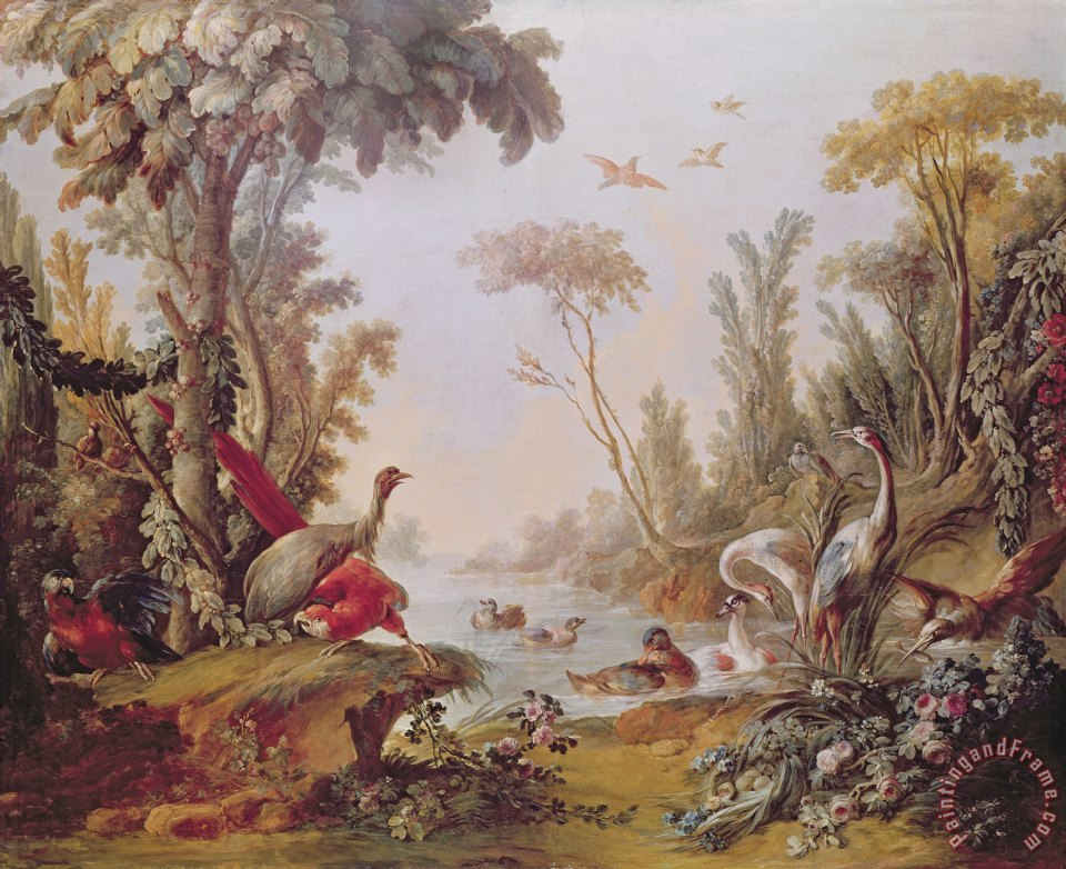 Francois Boucher Lake with geese storks parrots and herons Art Print