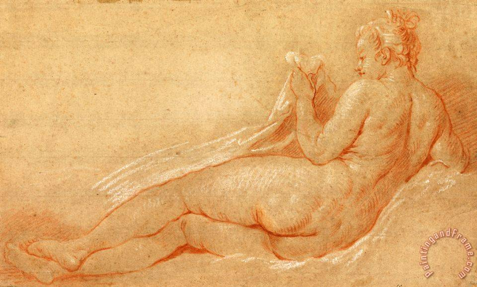 Study for Reclining Nude painting - Francois Boucher Study for Reclining Nude Art Print
