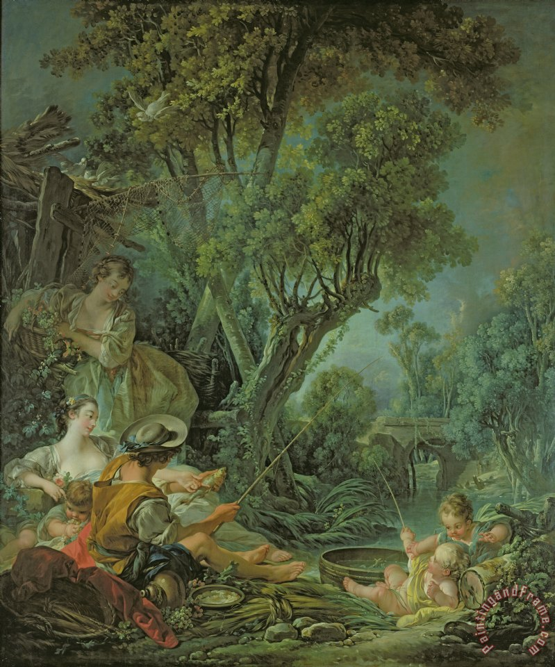 The Angler painting - Francois Boucher The Angler Art Print