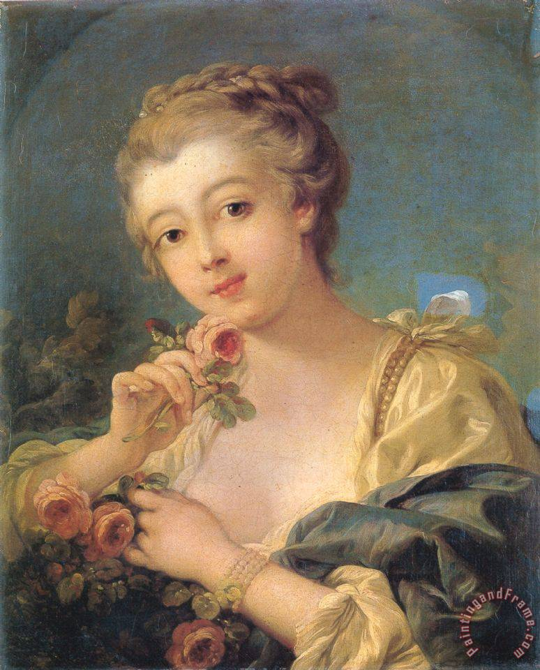 Francois Boucher Young Woman with a Bouquet of Roses Art Print