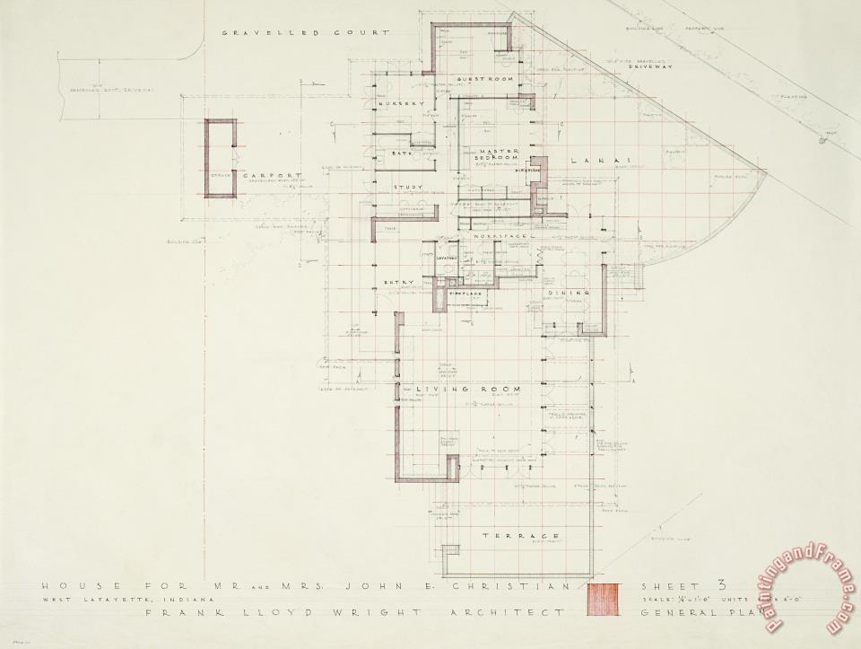 Frank Lloyd Wright John E Christian House General Plan West Lafayette Indiana Painting