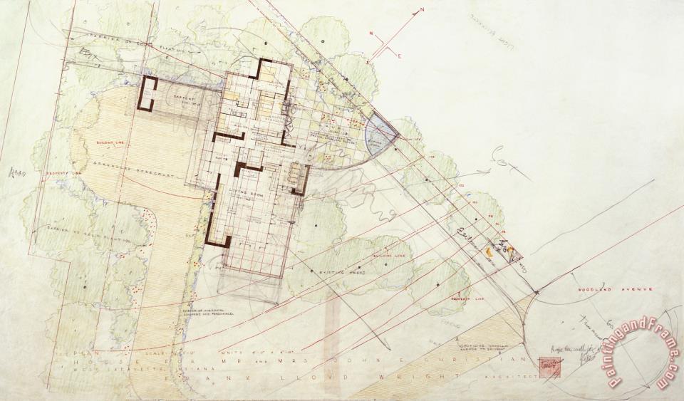 Frank Lloyd Wright John E Christian House Plan View West Lafayette Indiana Painting John